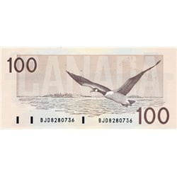 BANK OF CANADA. $100.00. 1988 Issue. BC-60a-i. Thiessen-Crow. Clear BPN. No. BJD8280736. CCCS graded