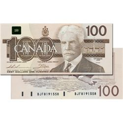 BANK OF CANADA. $100.00. 1988 Issue. BC-60a-i. No. BJF8191558. Clear B.P. CCCS graded Unc-67.