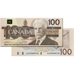 BANK OF CANADA. $100.00. 1988 Issue. BC-60aA-i. No. AJX3445720. Clear B.P. #61. Choice Unc.