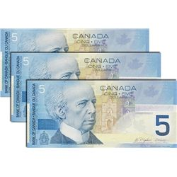 BANK OF CANADA. $5.00. 2005 Issue. BC-62bA. Insert notes. Jenkins-Dodge. No.'s HOU6908260, 8261, 826
