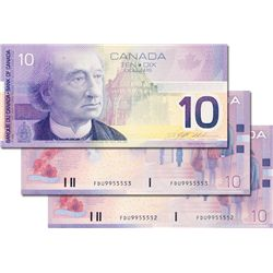 BANK OF CANADA. $10.00. 2000 Issue. BC-63aA. Insert notes. Knight-Thiessen. No. FDU9955551, 5552 & 5