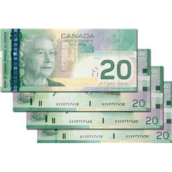 BANK OF CANADA. $20.00. 2006 Issue. BC-64aA-i. Jenkins-Dodge. No. EZV9757457, 7458, 7459, 7460. Lot