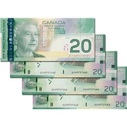 BANK OF CANADA. $20.00. 2006 Issue. BC-64aA-i. Jenkins-Dodge. Insert Notes. No. EZV9757461, 7462, 74
