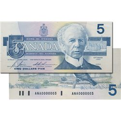BANK OF CANADA. $5.00. 1986 Issue. BC-56c-i. Bonin-Thiessen. No. ANA0000003. PCGS graded AU-58. PPQ.