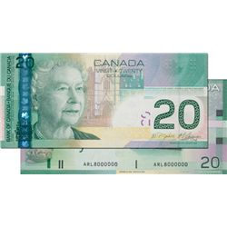 BANK OF CANADA. $20.00. 2008 Issue. BC-64b-i. Jenkins-Carney. No. ARL8000000. PMG graded Choice Unc-