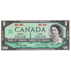 BANK OF CANADA. $1.00. 1967 Issue. BC-45a. (1867-1967). An Off-set Printing Error. PMG graded Choice