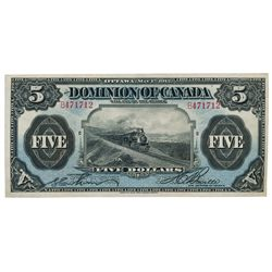 DOMINION OF CANADA. $5.00. May 1, 1912. DC-21c. No. B471712/C. Signed Boville, right. Another 'Train