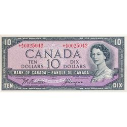 BANK OF CANADA. $10.00. 1954 Issue. BC-40aA. No. *A/D0025042. PCGS graded Choice AU-58. PPQ.
