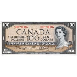 BANK OF CANADA. $100.00. 1954 Issue. BC-43c. No. B/J96700005. PCGS graded Choice AU-58. PPQ.