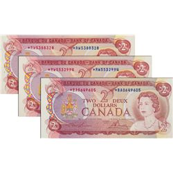 BANK OF CANADA. $2.00. 1974 Issue. BC-47aA. No. *RW5388328. PCGS graded AU-58; No. *RW5532994, No. *