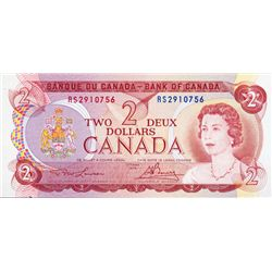 BANK OF CANADA. $2.00. 1974 Issue. BC-47aT. Lawson- Bouey. No. RS2910756. PMG graded Choice Unc-64.