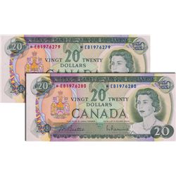 BANK OF CANADA. $20.00. 1969 Issue. BC-50aA. Lawson-Bouey. No. *EB1976279 & 6280. Lot of two (2) con