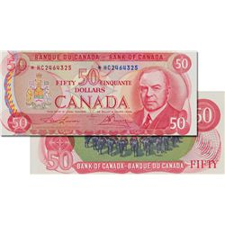BANK OF CANADA. $50.00. 1975 Issue. BC-51aA. Lawson- Bouey. No. *HB2464325. PMG graded Unc-62.
