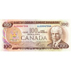 BANK OF CANADA. $100.00. 1975 Issue. BC-52aA-i. Lawson-Bouey. No. AJX0047344. PMG graded Very Fine-2