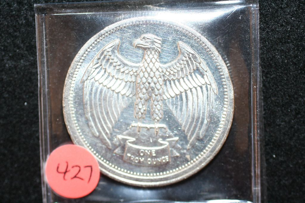VERY RARE LETCHER MINT 1974 ONE OUNCE SILVER ROUND