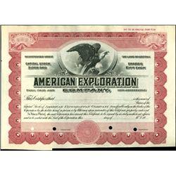 American Exploration Company Stock Specimen,
