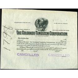 Colorado Tungsten Corporation Stock Proof,