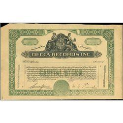 Decca Records Proof Stock Certificate,