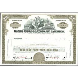 Radio Corporation of America Stock Specimen,