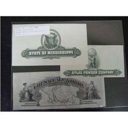 U.S. Large Format Proofs of U.S. Railroad Stock a