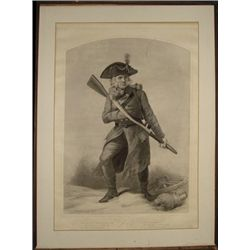 Large Engraving of Revolutionary War Soldier,