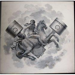 Allegorical Man, Horse and Pistons Original Paint