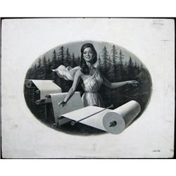 Allegorical Woman with Giant Roll of Paper and Tr
