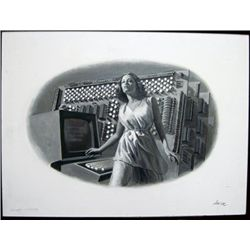 """Lavin Painting """"Computer Woman"""","""