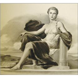 Seated Allegorical Woman with Hydro-electric Dam,