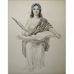 Seated Allegorical Woman Writing with Quill Pen,
