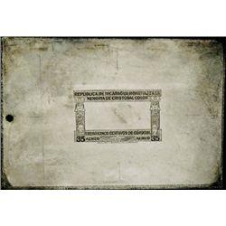 Nicaragua Columbus Stamp Border Printing Plate.