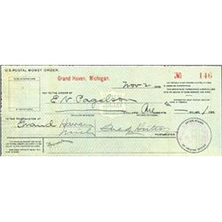 Michigan. U.S. Early U.S. Postal Money Order.