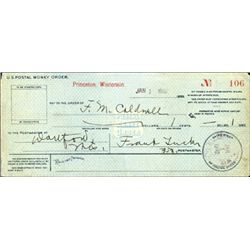 Wisconsin. U.S. Early U.S. Postal Money Order.