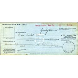 West Virginia. U.S. Early U.S. Postal Money Order.