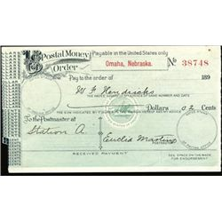 Nebraska. U.S. Postal Money Order.