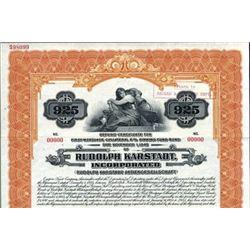 Germany Rudolph Karstadt Inc. Deposit Certificate.