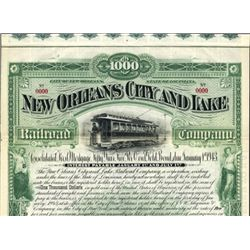 New Orleans City and Lake Railroad Co. Bond