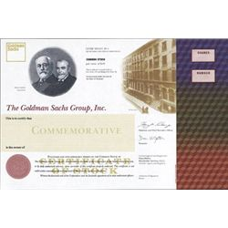 NY, NY. Goldman Sachs Commemorative Stock Cert