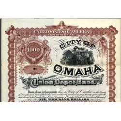 Nebraske. U.S. City of Omaha - Union Depot Bond.