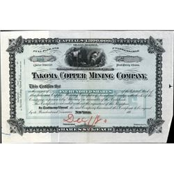 Arizona. U.S. Takoma Copper Mining Co. Proof.