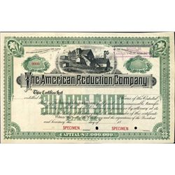 Wyoming Territory. U.S. The American Reduction Co.
