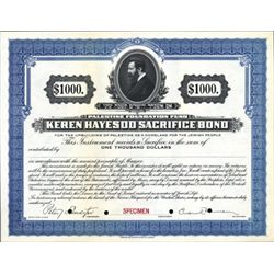 Palestine Foundation Fund Bond Specimen
