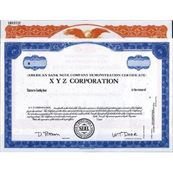 U.S. American Bank Note Demonstration Certificate