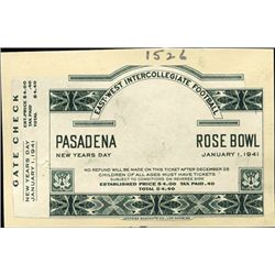 California. U.S. 1941 Rose Bowl Proof Ticket