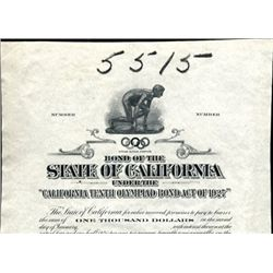 State of California - 10th Olympiad Bond Act 1927