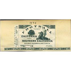 California. UCLA vs USC Proof Football Ticket