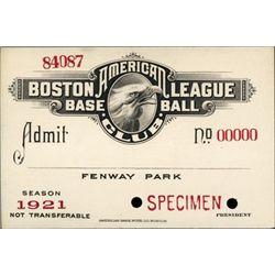 Boston American League Base Ball Club Pass