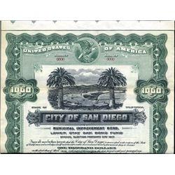 California. U.S. City of San Diego Bond.