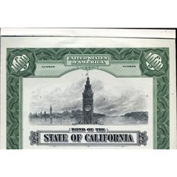 California. U.S. State of California Bond.