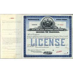 New York. U.S. New York Steamboat License.